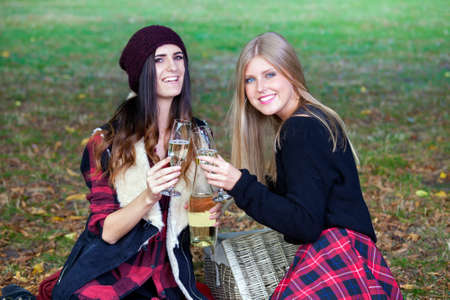 among: Two young women having picnic in a park among autumn leaves, laughing and toasting with champagne, looking at camera.