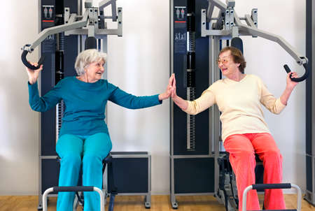 intervertebral disc: Smiling Elderly Ladies Exercising Using Chest Press Equipment While Touching their Palms and Looking Each Other.