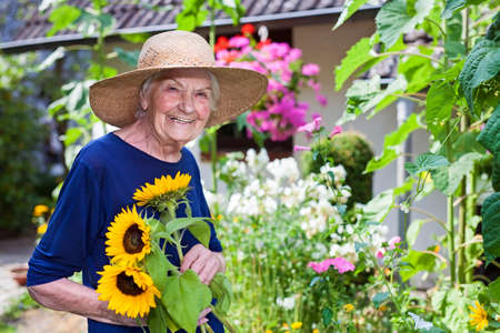 Happy Elderly Woman with Brown Hat Holding Attractive Fresh Sunflowers at the Garden While Looking at the Camera. Stock Photo