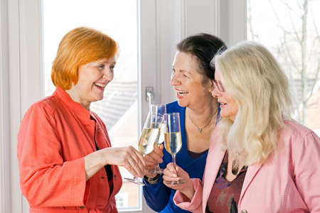 camaraderie: Close up Three Happy Adult Women Friends in Trendy Attire Tossing Glasses of White Wine While Laughing at Something.