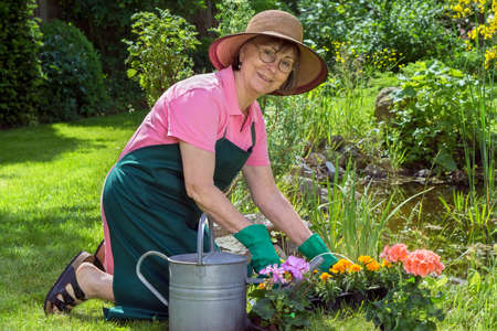 ornamental horticulture: Middle-aged woman working in her garden kneeling on the lush green spring lawn transplanting potted flowers into a flowerbed turning to give the camera a friendly smile Stock Photo