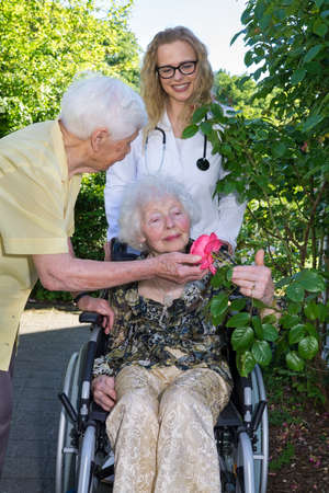 recuperation: Disabled Elderly Woman on Wheelchair, with her Female Young Doctor and Middle Aged Caregiver, Looking at Beautiful Flower While Enjoying In the Garden.