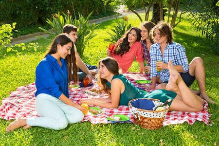 laid back: Group of smiling friends having picnic on a red and white checkered blanket near basket under a bright sun Stock Photo