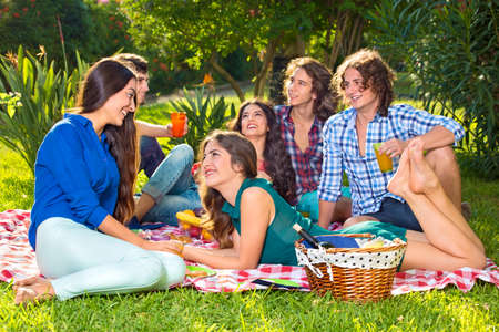 barefoot: Group of six smiling friends sharing food and beverages on a picnic blanket in the park next to basket holding wine bottle