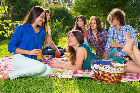 camaraderie: Six happy friends relaxing on a sunny afternoon in the park sharing food and drinks on a sunny afternoon in the park