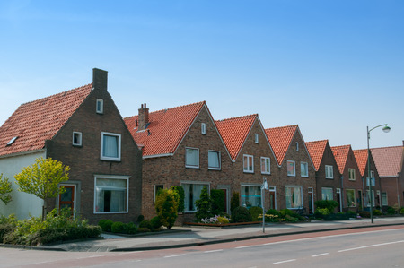 volendam: brick linked houses in Volendam, Netherlands Stock Photo