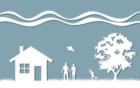 Silhouette family house and tree Ilustração