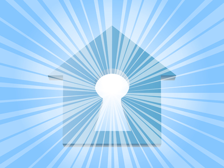 Rays of the sun through the keyhole in house Vector