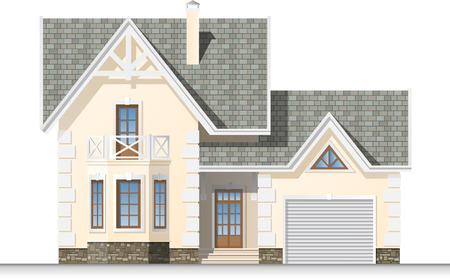 mansard: Beautiful house with a mansard and garage  Facade