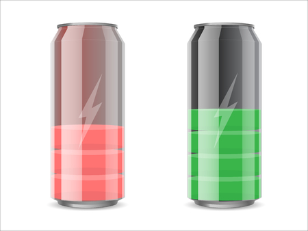 nonalcoholic beer: metal can  with drink like a battery with a charge division Illustration