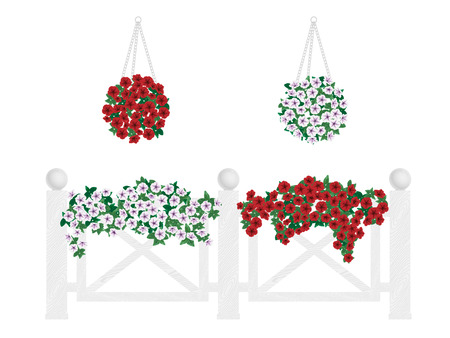 landscaping: Bushes and flowers in pots and hanging on the fence. Decorate balcony, buildings, fence.