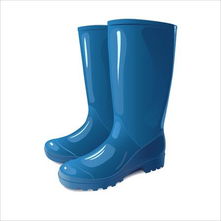 Stivali da pioggia blu su sfondo bianco.
