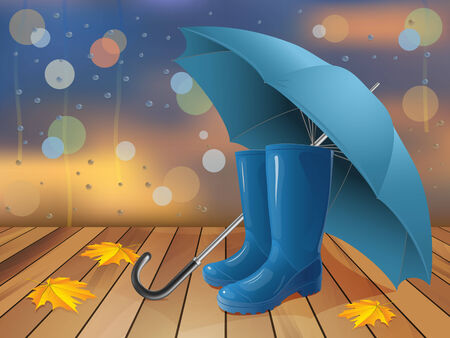 wellingtons: Fall outside the window. Fallen leaves, umbrella and wellingtons.