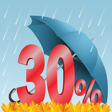 30: Autumn seasonal sale discounted thirty percent. Rain; umbrella; numbers; and leaves.