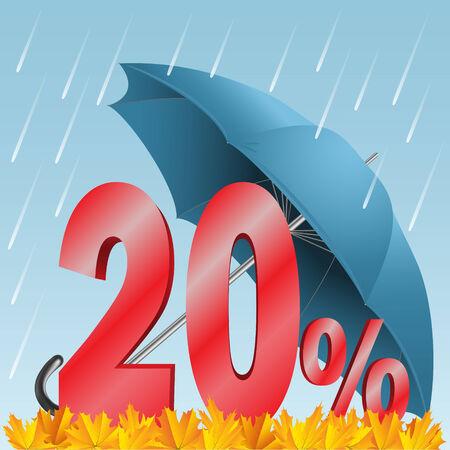 share prices: Illustration - autumn seasonal sale discounted twenty percent. Rain, umbrella, numbers, and leaves.
