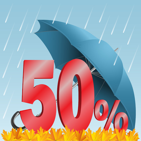 discounted: Autumn seasonal sale discounted fifty percent. Rain, umbrella, numbers, and leaves. Illustration