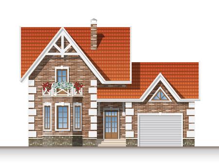 マンサードとガレージの美しいれんが造りの家。正面図。  イラスト・ベクター素材