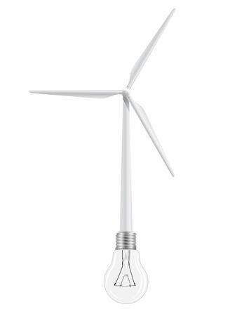 wind turbine: L'�olienne est reli�e � une ampoule. Symbole de l'�nergie renouvelable. Illustration