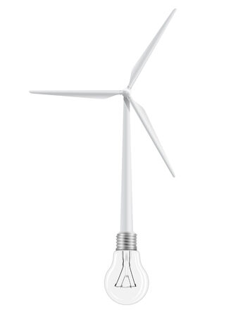 windpower: The wind turbine is connected to a light bulb. Symbol of renewable energy.  Illustration