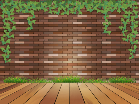 ivy wall: Background brick wall, ivy, and the board and grass. Illustration