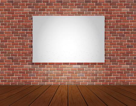 paredes de ladrillos: Pared de ladrillo rojo y el fondo piso de madera. Ilustración del vector.