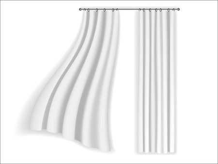 draught: white curtains fluttering on a white background