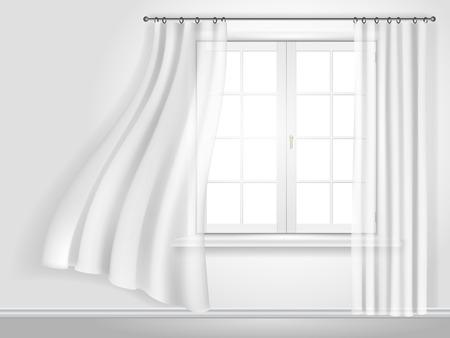 sipario chiuso: tende svolazzanti bianchi e finestra contro un muro bianco
