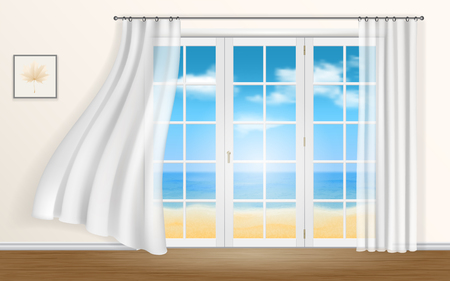 window frame: The view from the windows of the sea and the beach. Curtains fluttering in the wind. Illustration