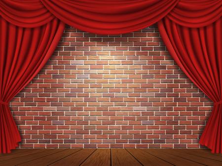 レンガ壁の背景に赤いカーテン