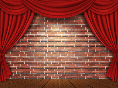 stages: Red curtains on brick wall background