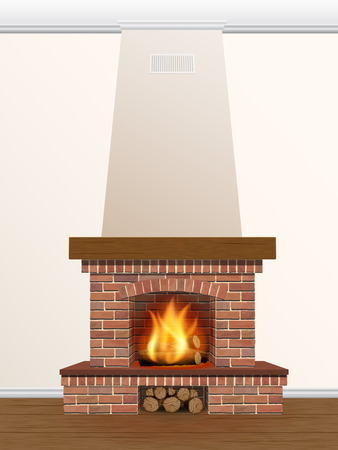 stone fireplace: brick fireplace with fire and firewood