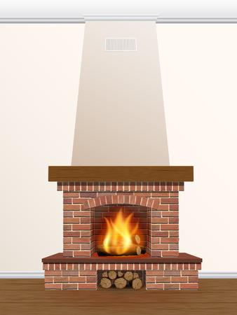 camino natale: camino in mattoni con il fuoco e legna da ardere Vettoriali