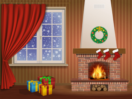 xmas decoration: Christmas interior with a fireplace, gifts, and window Illustration