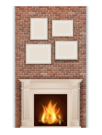 fireplace: classic fireplace on brick wall background Illustration
