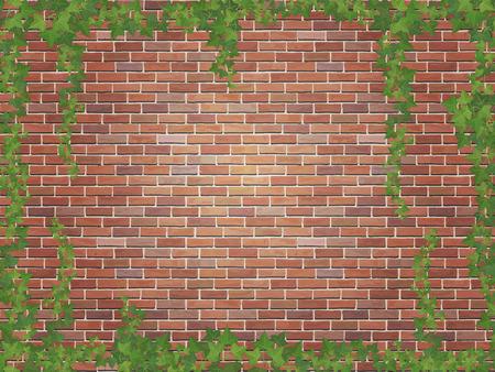 ivy winds on the brick wall background Ilustração