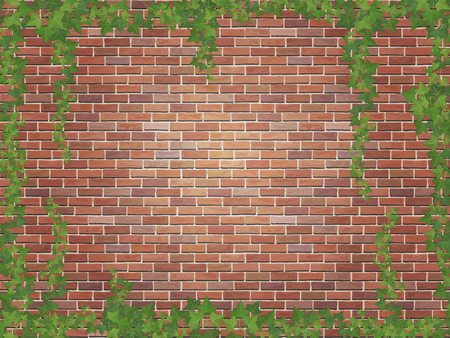 ivy winds on the brick wall background Illustration