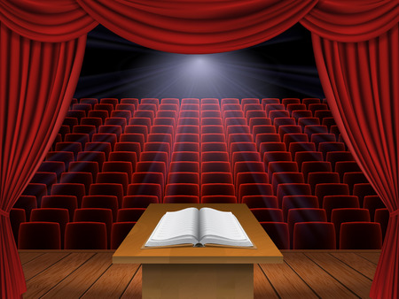 open book is on the podium in the auditorium