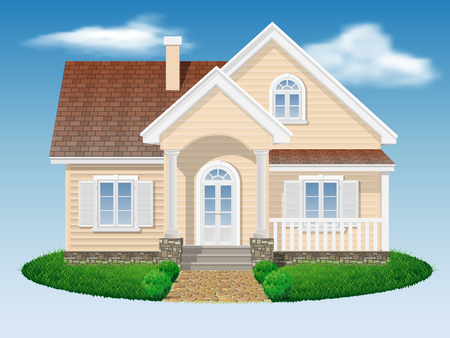 landscaping: beautiful small residential house with sky and grass background Illustration