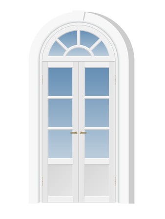 white door: white door with fanlight, architectural element