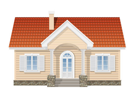 suburban house, realistic vector illustration on a white background