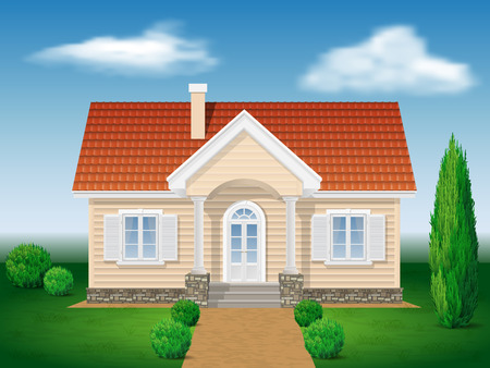 cottage house with the environment, background sky and ornamental garden