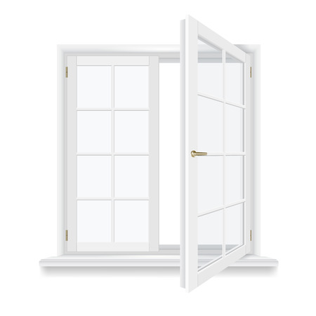 open window isolated, detailed vector illustration  イラスト・ベクター素材