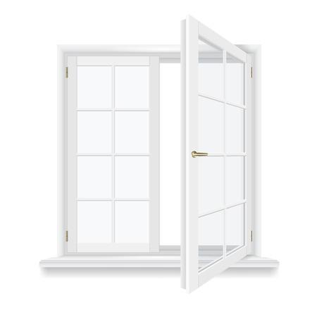 open raam geïsoleerd, gedetailleerde vector illustratie Stock Illustratie