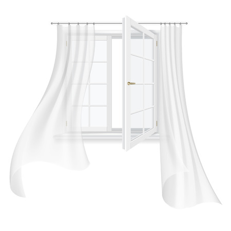 flapping: open white window and fluttering transparent curtains