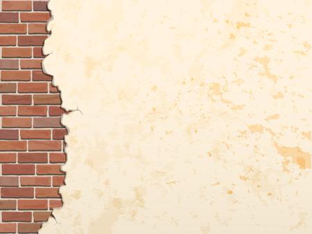pared de ladrillo de hormigón agrietado vector vintage fondo