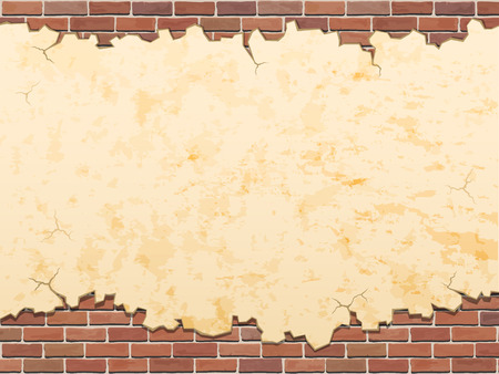 concrete wall with cracks and brick vector grunge background