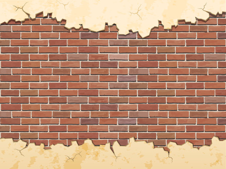 revetment: brick wall and cracked concrete vector background