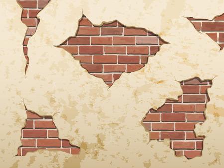 Las viejas grietas de concreto y ladrillo en mal estado. Elementos separados decoración de la pared. Conjunto de vectores. Ilustración de vector