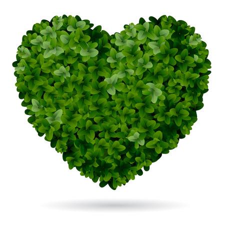 Foliage heart, symbol of love for nature. Stock Illustratie