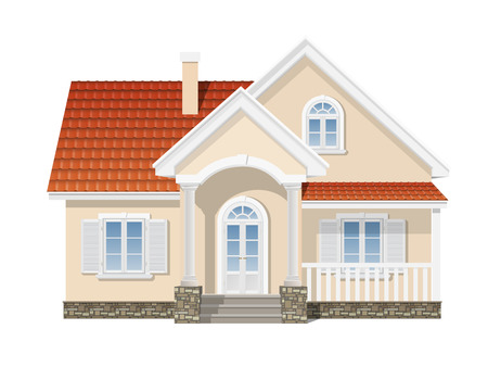 suburban house with a red tile roof
